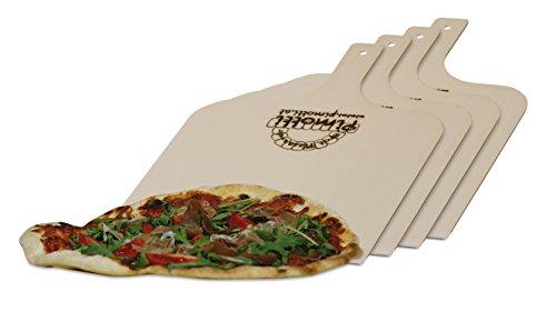 Pimotti Pizzaschaufel / Brotschaufel/ Flammkuchenbrett aus naturbelassenem Sperrholz für Pizzastein (4er Set)