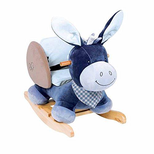 *Nattou 321273 Alex und Bibou – Schaukeltier ab 1 Jahr mit Gurt für Jungen, Schaukelesel, Alex der Esel, blau*