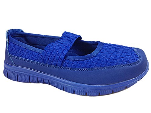Ladies Bluebell Cushion Walk Flexi Elastic Woven Comfort Slip On Casual Plimsoll...