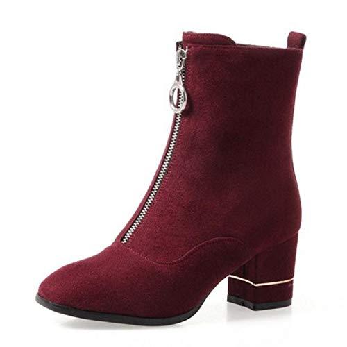 PINGXIANNV Frauen Die Hälfte Kurze Stiefel Winter Reißverschluss Quadratische Spitze Warme Schuhe Frau High Heel Stiefel