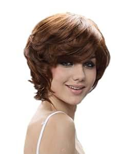 Cosplayland C302 - Designer short brown natural curly like really Hair Wig