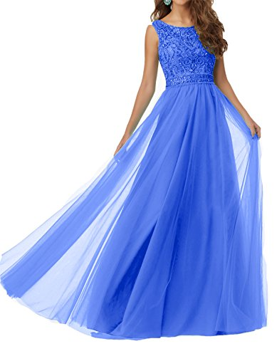 Promworld Damen Kniel?nge V Hals Mutter der Braut Kleid Blau