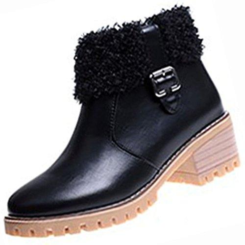 HSXZ Chaussures pour femmes PU Printemps Automne Bottes confort pour l'Extérieur brun noir,Black,US8 / EU39 / UK6 / CN39