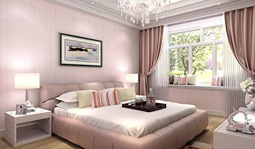 Mddjj Non-Woven Wallpaper Tapete Elegant Solid Color Wallpaper Moderne Wohnzimmer Warm Schlafzimmer Beige Pink StripesPink -