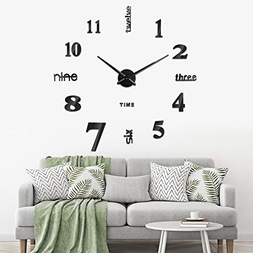 SOLEDI Reloj Pared 3D DIY Reloj Etiqueta Pared Decoración