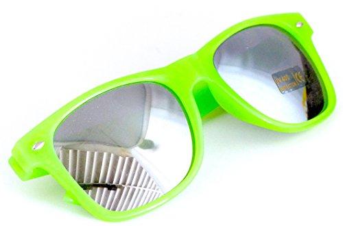 Nerd-Brille Grün ohne Sehstärke Verspiegelt 15cm Herren Damen Unisex Panto-Brille Wayfarer Klar-Glas Nerd-Brille Geek-Brille Green Dark Sun-Glasses