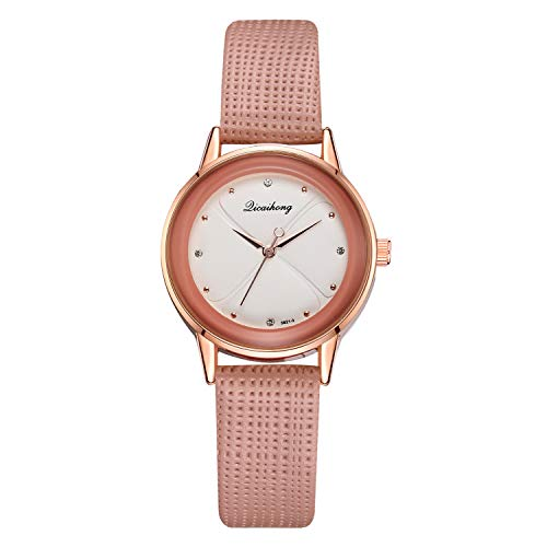 TWISFER Damen Armbanduhr Analog Quarz Uhr Kreative Vierblättriges Kleeblatt Zifferblatt mit Mesh Lederband Mädchen Einfach Armbanduhr