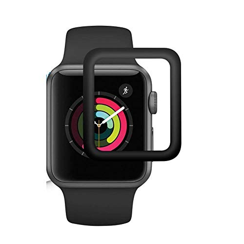 Blast Inn iWatch Full Glue Screen Protector 38mm, [3D Full Coverage] [Anti-Scratch] [High Definition] Tempered Glass Screen Protector for Apple Watch 38mm Series 3/2/1 (Black)