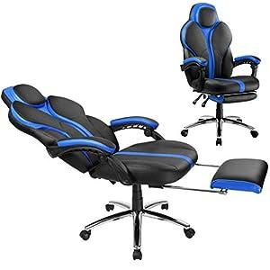 41PP2etzhuL. SS300  - LANGRIA-Silla-Gaming-de-Ordenador-para-Gamers-Especial-Videojuegos-Ergonmica-y-Ajustable-Tapizada-de-Piel-Falsa-Acolchada-con-Reposapis-Reposabrazos-y-Reposacabezas-Modelo-Cobra-Negro-y-Azul