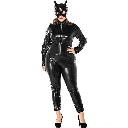 XFei Frauen Katzen Anzug Halloween Catwoman Kostüm Front Zipper Schwarz Catsuit Body Jumpsuit Sexy Catsuit Kostüm mit Kitty Maske und Gürtel -