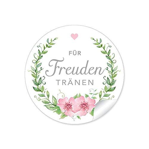 """24 STICKER: """"Für Freuden Tränen"""" Etiketten mit Kranz, Blüten und Herz in grün / rosa für Freudentränen-Verpackungen / Taschentücher zur Hochzeit • Papieraufkleber: 4 cm, rund, matt"""