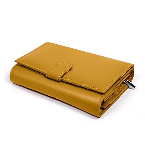 fe23b74b1b443 Damen Geldbörse Echte Leder - Portemonnaie für Frauen mit Druckknopf -  Geräumiger Geldbeutel mit Taschen für Bargeld