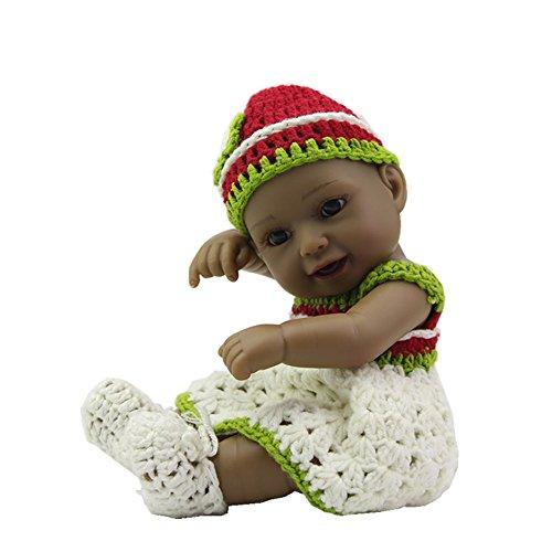 Weiche Art und Weise realistisch Schwarz Mini Pflege Baby Puppe 11 cm Prinzessin Silikon Vinyl Neugeborenen Full Body Puppen Spielzeug mit Kleid Kinder Playmate Portable Angst zu verringern helfen, Autismus schwangere Frauen