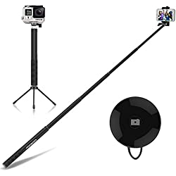 MoKo Allungabile Selfie Stick Wireless 4ft, con Bluetooth Controllo Remoto, Phone Clip Supporto Regolabile, Treppiede Metallico, Compatibile a Gopro & Smartphone iPhone 6s Plus, Samsung S7 Edge, NERO