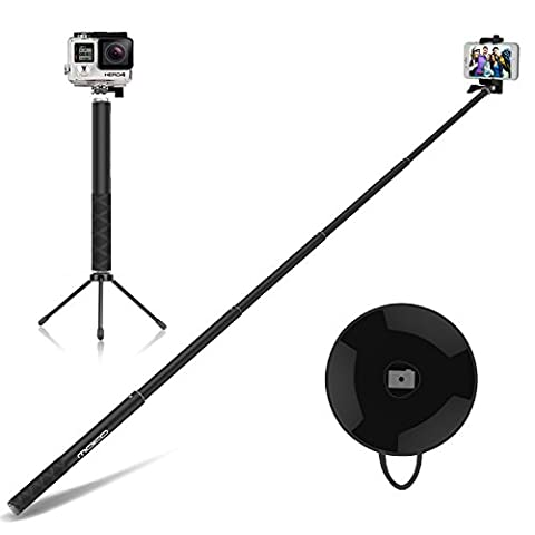 MoKo Aluminum Selfie Stick Stange Stab Monopod mit Bluetooth Auslöser Adjustable Halterung für iOS, Android Smartphone iPhone, Samsung, Huawei, LG, HTC, Microsoft Lumia, Sony, ASUS, Motorola,
