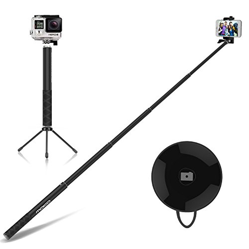 Moko bastone selfie, selfie stick bluetooth asta per selfie in alluminio estendibile fino 122cm con treppiede, per gopro smartphone, android,ios iphone x 8 7 plus 6 plus samsung galaxy s7 edge, nero