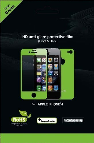 Importer520 Matte Finish Anti Glare Front & Back Protector Sets Color Screen Protector for Apple iPhone 4 / 4G 4GS (Lime Green)