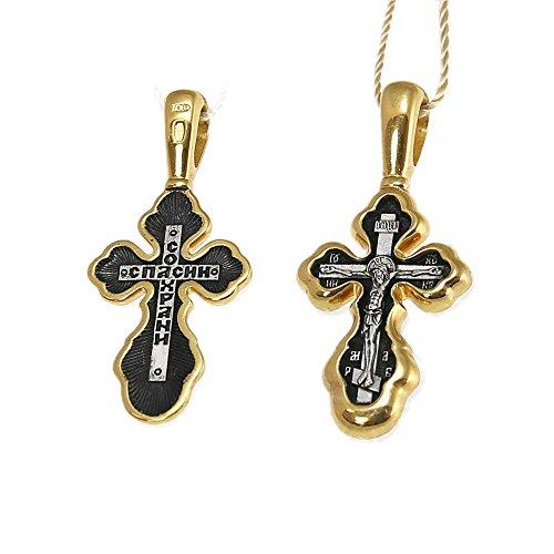 NKlaus Vergoldete Silber Kreuzfix 925 Sterling Anhänger Orthodox russisch 4531 Taufe