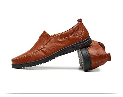Italian Men Casual Shoes Summer Genuine Leather Men Loafers Moccasins Slip on Men's Flats Breathable Male Driving Shoes 1858Redbrown 6 -