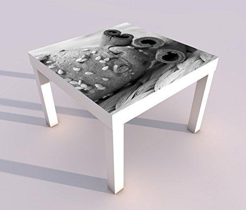 Design - Tisch mit UV Druck 55x55cm schwarz weiss Brötchen mit Samen Zimt Küche Brot Spieltisch Lack Tische Bild Bilder Kinderzimmer Möbel 18A2128, Tisch 1:55x55cm