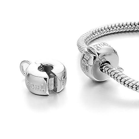rubyca Silber Clip Lock Stopper Verschluss Perlen Charm passend für europäische Snake Kette Armband, Kupfer, Model 136 Silver Plated, 10 Stück