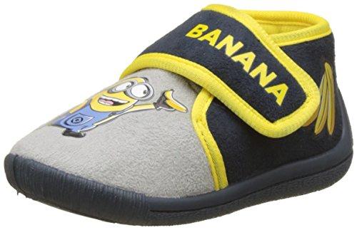 Despicable Me Jungen Boys Kids Velcro Low Houseshoes Hohe Schuhe, Multicolore (L.Grey/Navy/Yellow), 29 (Me Despicable Schuhe)