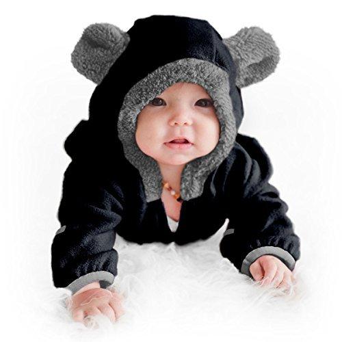 (Funzies Fleece leichte Jacke - Winter Pyjama Oberbekleidung für Baby 3-6 monate Schwarzer Bär)