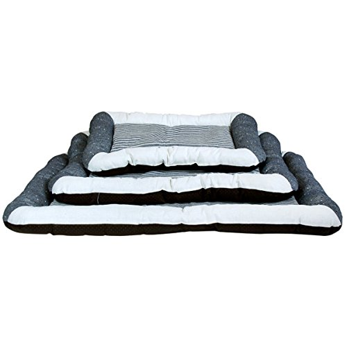 Charles Bentley Grey & Cream Soft Rectanglular Pet Bed MACHINE WASHABLE at 30 DEGREES – Available in Small, Medium & Large Sizes, Suitable for outdoor use, Ideal for dog cages