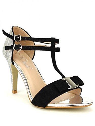 Cendriyon, Escarpin Argent et Black WEIDES Chaussures Femme Argenté