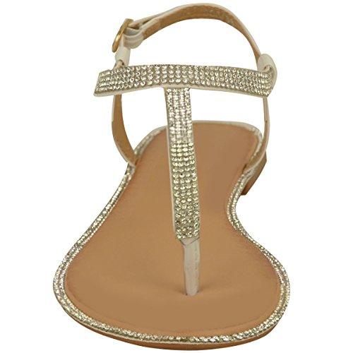Nuovo Donna Basse Sandali Infradito Sandali Con Strass donna Cinturino Alla Caviglia T-Bar Scarpe Numeri Bianca Vernice