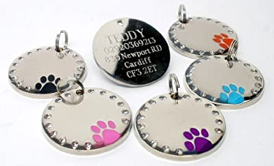 Large Round Crystal and Paw Design Dog Pet ID Tag Disc Engraved.......TO LEAVE ENGRAVING DETAILS PLEASE READ PRODUCT DESCRIPTION LOWER DOWN THIS PAGE.