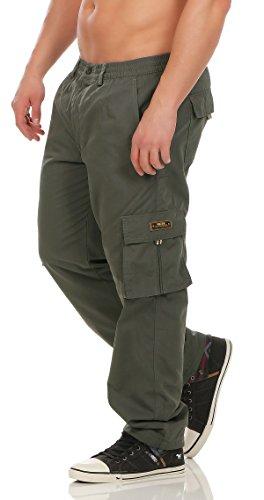Herren Cargo Hose mit Dehnbund warm gefütterte Thermohose - mehrere Farben ID529, Größe:XXL;Farbe:Dunkelgrün (Herren Elastische Hose)
