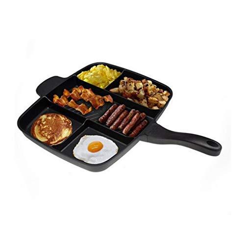 5 in 1 Geteilte Pfanne Nicht-Quadratischer Grillpfanne mit Antihaftbeschichtung Leicht zu reinigen, tragbares Kochgeschirr, 5 Kochbereiche für Mahlzeiten 15