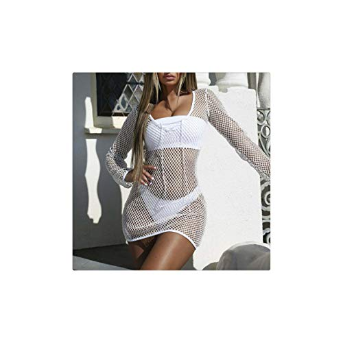 Sexy Women Cover Up Fishnet Mesh Long Sleeves Hollow-Out Solid Color Short Dress Summer Clothing White S