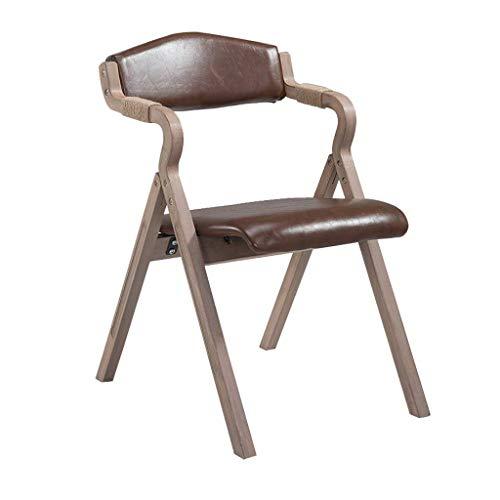 YAMEIJIA Retro Solid Wood Dining Chair mit Armrest Faltstuhl Soft Backrest und Seat Cushion für Kitchen Lounge Living Room-Vintage Faux Leder Stuhl,Lightbrown (Faux-leder-stühle)
