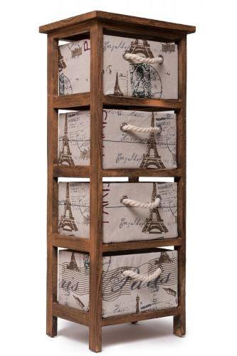 Unbekannt Schränkchen aus Holz braun mit 4 Körben H 75cm Holzschrank Holzregal Körbe Korb Regal Standregal -