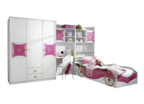 ugendzimmer Weiß-Rosa, 4-teilig, Stellmaß BxHxT 326x199x238 cm (Kinder Schlafzimmer Möbel-sets)
