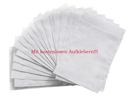 100 Stück kleine weiße mini-Tüten Papier-Tüten Papier-Flachbeutel 7,5 x 10,2 + 1,6 cm Lasche Geschenktüte Tabletten Taschentücher Geschenke verpacken Gastgeschenke Mitgebsel Blumen-Samen Globuli