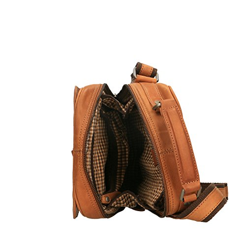 Chicca Borse Luxury Man Pouch Schultertasche aus echtem Leder - 20x26x10 cm Bräunen