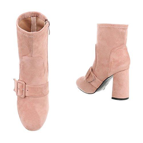High Heel Stiefeletten Damenschuhe High Heel Stiefeletten Pump High Heels Reißverschluss Ital-Design Stiefeletten Pink LA02