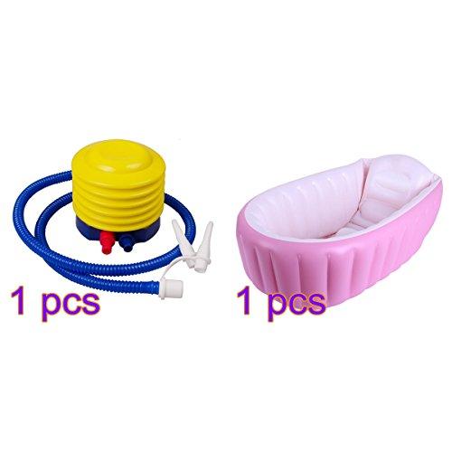 """Lulalula - Bañera hinchable para bebé, portátil, para viajes, piscina, grueso, plegable, lavabo de ducha para bebé, antideslizante, con bomba de aire rosa rosa Talla:38"""" x 26"""" x 11"""""""