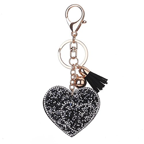 Rhinestone Key Chain Fob Phone Purse Charm Black Leather Heart