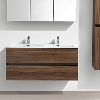 Charmant Meuble Salle De Bain Design Double Vasque Siena Largeur 120 Cm, Noyer