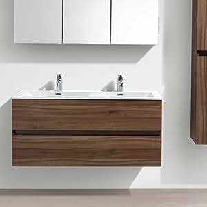 meuble salle de bain design double vasque siena largeur 120 cm noyer cuisine maison. Black Bedroom Furniture Sets. Home Design Ideas