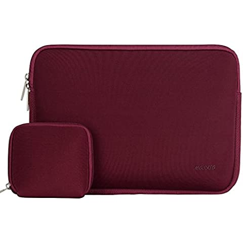 MOSISO repelente de agua neopreno Laptop Sleeve Funda de la bolsa de la caja para el ordenador portátil Ultrabook de 14 pulgadas con un pequeño caso, Vino Rojo