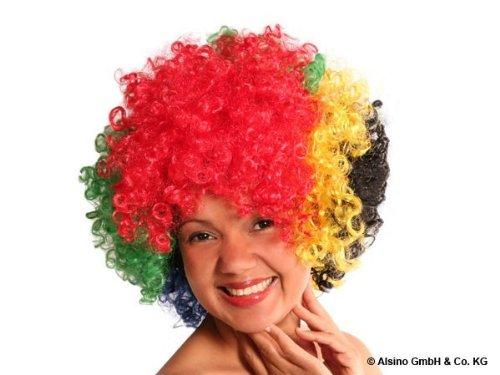 Alsino Curly Bunte XXL Afro Clown Lockenkopf Wig Perücken - für Fasching und Karneval, Südafrika