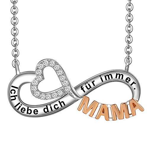LOVORDS Damen Halskette aus 925 Sterling Silber Rosevergoldet Unendlichkeit Anhänger Symbol mit Gravur Geschenk für Mama