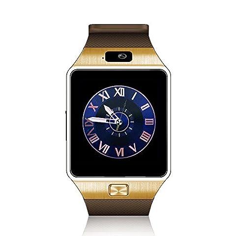Smart Watch ,Anding Bluetooth Montre Connecte TF avec caméra réveil Podomètre Sleep Monitor pour Apple IOS et Android Smartphone (Gold)