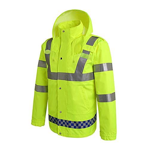FESSLAND Warnweste, wasserdichte Regenjacke, reflektierende Sicherheit Regenmantel mit Kapuze Poncho (Größe : XXXL)
