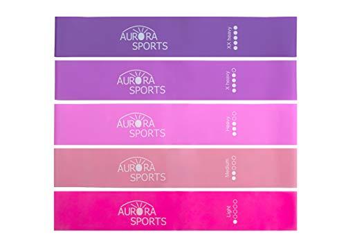 Aurora Sports Fitnessbänder Set, 5 Widerstandsbänder in Pink/Violett/Rosa mit Anleitung auf Deutsch und Stoffbeutel, auch bekannt als Trainingsbänder, Gymnastikbänder, Loop Bands